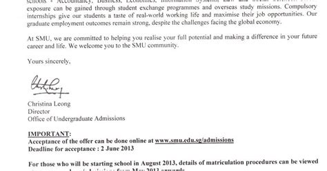 Lim College Acceptance Letter Welcome All Offer From Smu