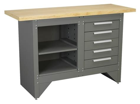 Steel Workbenches With Drawers by Sealey Steel Wood Workbench Work Bench Drawers Ap2030bb Ebay