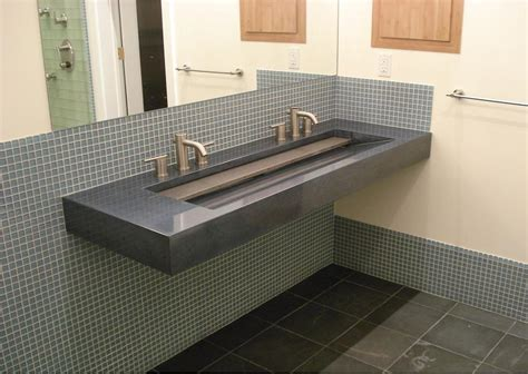 Dual Faucet Trough Sink by Eye Catching Grey Marble Commercial Trough Sink With Stainless Steel Faucet And Large