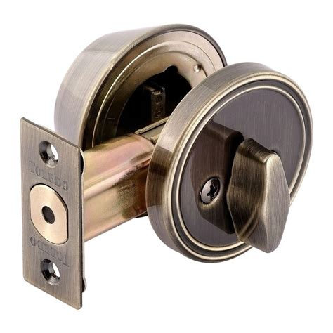 toledo locks single cylinder antique brass deadbolt