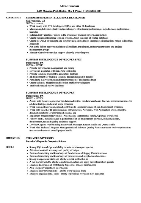 Business Intelligence Resume by Business Intelligence Resume Sle Business Intelligence