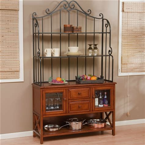 Bakers Rack Wood by Wrought Iron Top 47 Inch Bakers Rack In Heritage Oak Wood Finish Fastfurnishings
