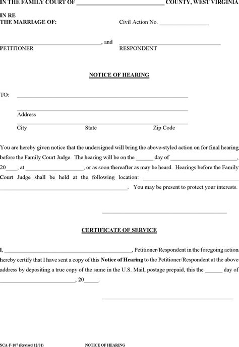 the west virginia notice of hearing form can help you make