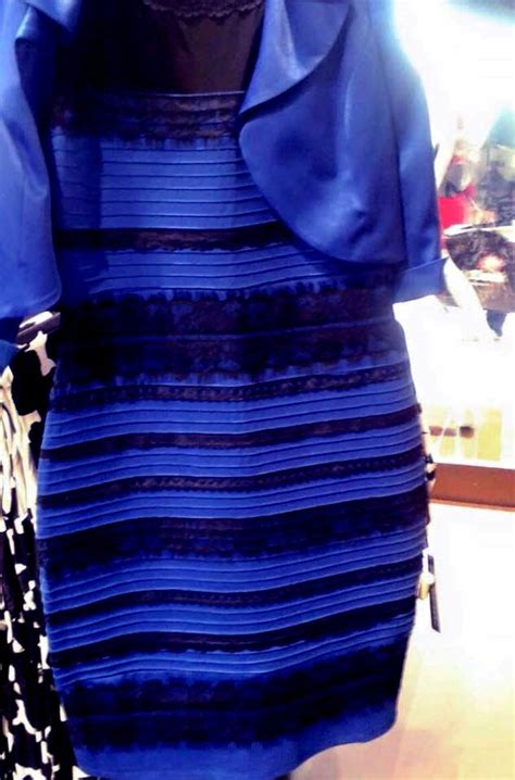 the dress is blue and black says the girl who saw it in white and gold white and gold dress looks black and blue