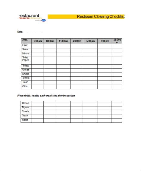 bathroom checklist restaurant bathroom cleaning checklist template