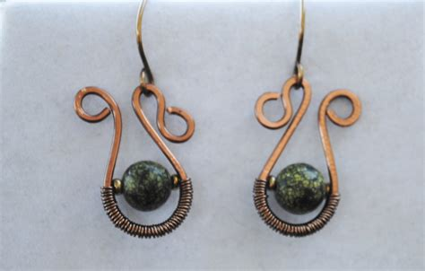 Handmade Wire Earrings - handmade copper wire earrings metalwork earrings green bead