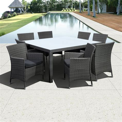 glass patio set shop international home atlantic 9 grey glass