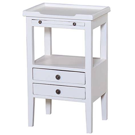 eton 2 drawer side table with pull out shelf