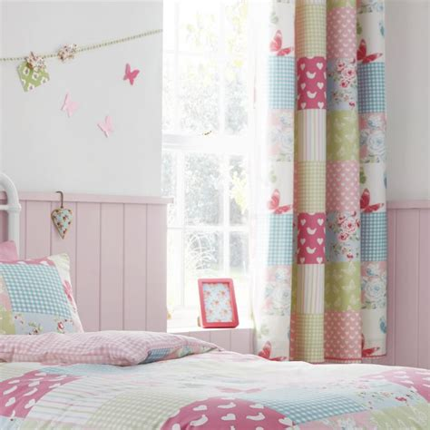 Pink Patchwork Curtains - canterbury patchwork pink curtains tonys