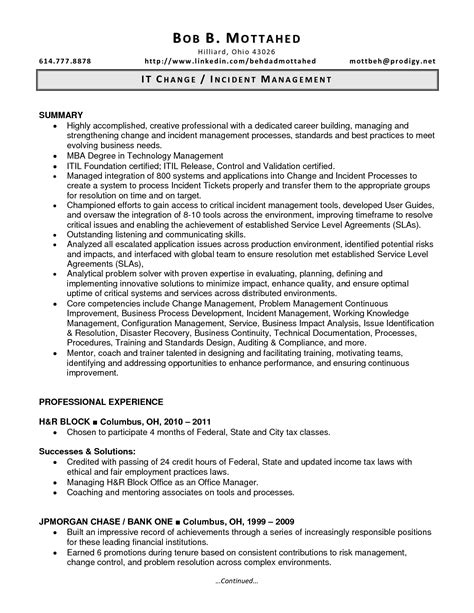 resume change management resume ideas