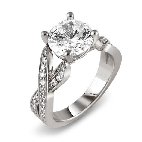 platinum intertwined pave engagement ring