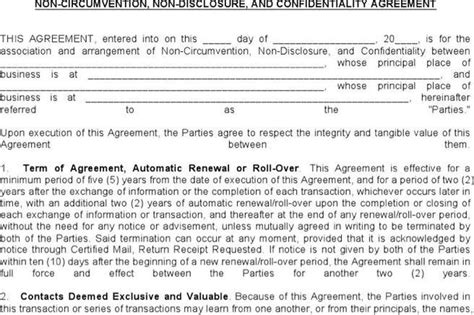 non circumvention agreement template 28 images icc