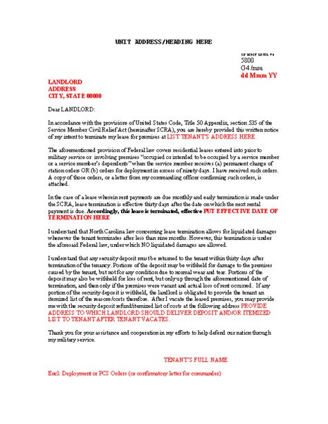 sample scra lease termination letter template word