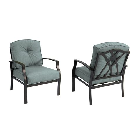 Steel Patio Chair Shop Garden Treasures Set Of 2 Cascade Creek Black Steel Patio Chairs At Lowes