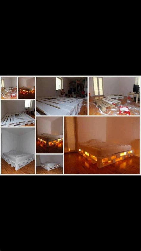 pallet bed with lights repurpose wooden pallets