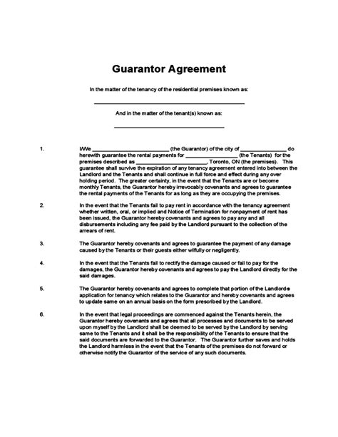 Rent Guarantor Letter guarantor agreement free