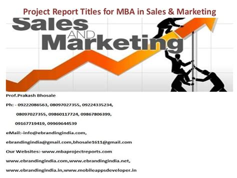 Openings For Mba Marketing by Project Report Titles For Mba In Sales Marketing