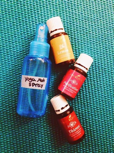 mat spray diy essential mat spray on barefoot in blue