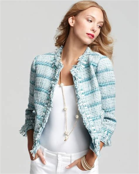 Burch Barcelet Sky Blue Ghw burch marion fancy ribbon tweed jacket in blue cool sky blue lyst