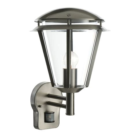 Outdoor Light Fitting Endon Lighting Inova Single Light Outdoor Pir Wall Fitting In Brushed Stainless Steel And Clear