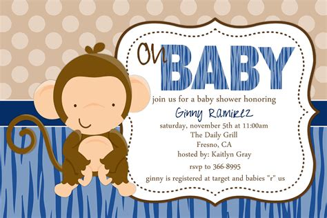baby shower monkey invitations baby monkey baby shower invitation by beenesprout on etsy