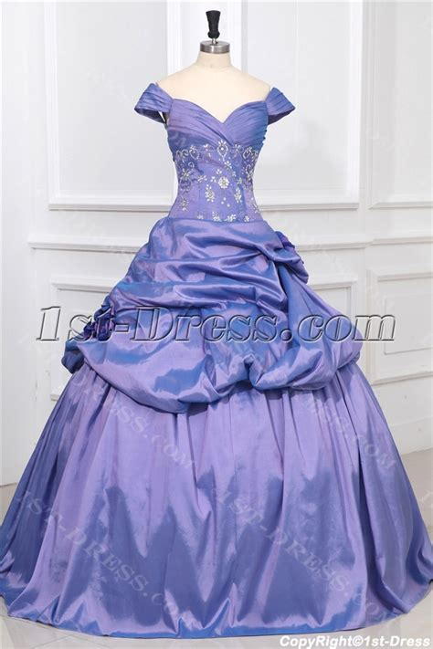 Off Shoulder Periwinkle Princess Quinceanera Ball Gown:1st dress.com