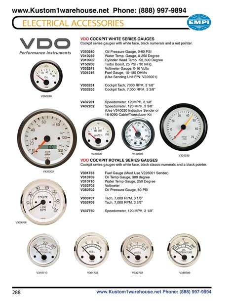 Vdo Cockpit White And Royale Series Gauges Oil Pressure