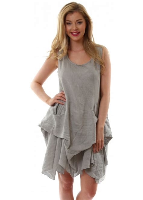 monton top grey linen loose fit tunic top summer
