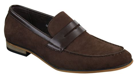 mens suede slip on loafers moccasins smart casual italian