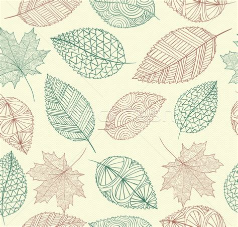 pattern background sketch vintage drawing fall leaves seamless pattern background