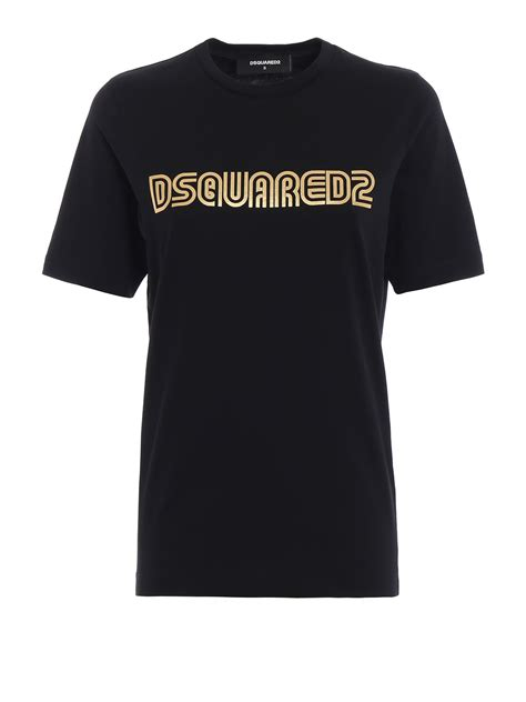 T Shirt Dsquared2 Black gold logo print black t shirt by dsquared2 t shirts
