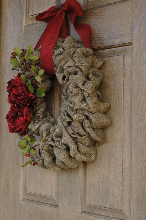 holiday burlap wreath christmas burlap wreath with red