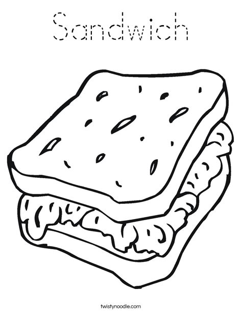sandwich coloring page tracing twisty noodle