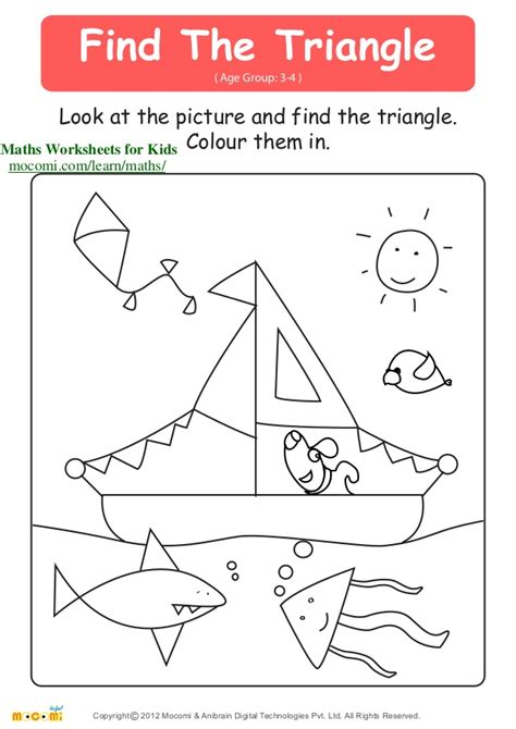 Age Finder Find The Triangle Maths Worksheets For Mocomi