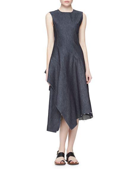 Dress Navy Denim marni asymmetric ruffled denim dress navy blue