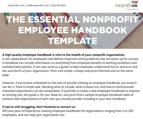 The Essential Nonprofit Employee Handbook Template Nonprofit Hr Employee Handbook Template Washington State