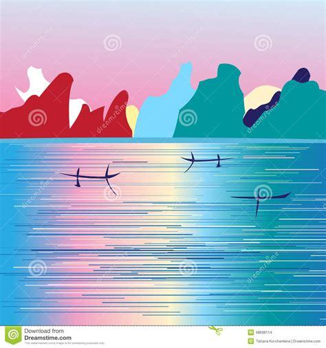 Grafische Bilder by Grafische Landschaft Mit Fluss Und Bergen Vektor Abbildung