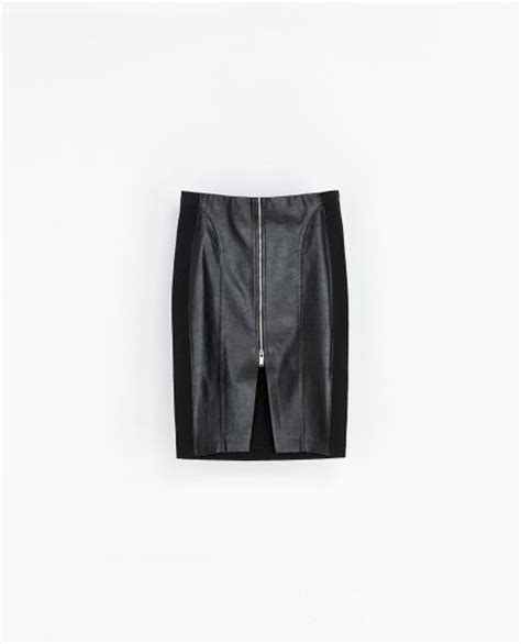 zara faux leather skirt with zip in black lyst