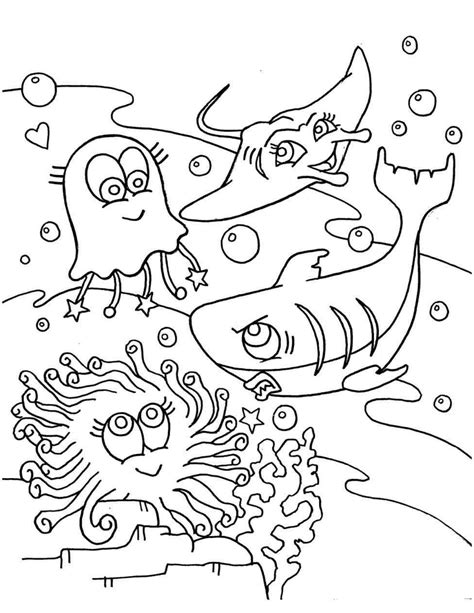 fish habitat coloring pages drawn coral ocean floor pencil and coloring sheets free