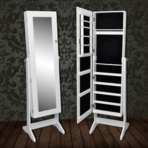 free standing mirrored jewelry armoire white free standing jewelry cabinet with mirror vidaxl com