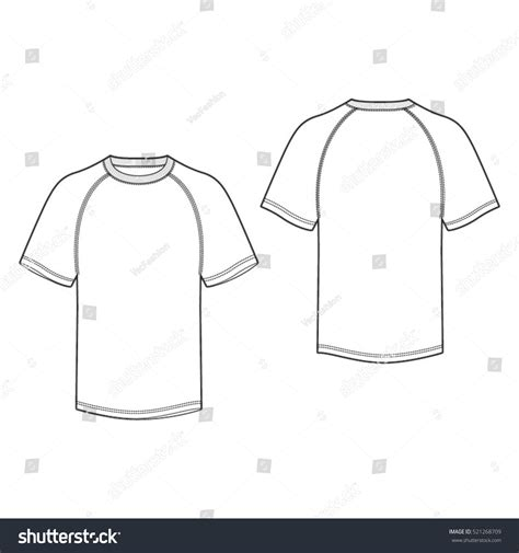 sleeve t shirt template raglan sleeve tshirt template stock vector 521268709