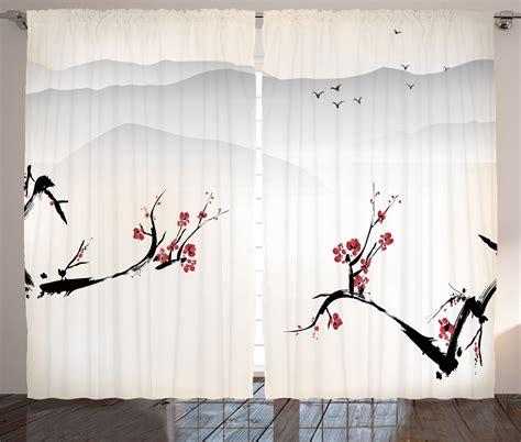 japanese decor curtains 2 panels set cherry blossom home japanese nature image sakura flower at the himalayas print