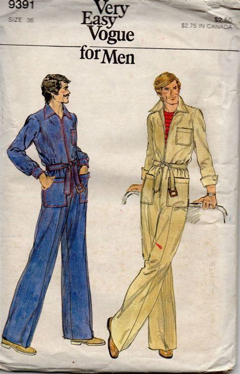 jumpsuit paper pattern 1970s vogue 9391 very easy mens zip front jumpsuit vintage