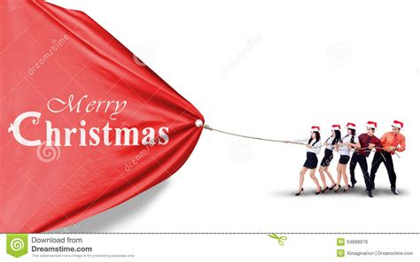 asian business team pull christmas banner stock image image