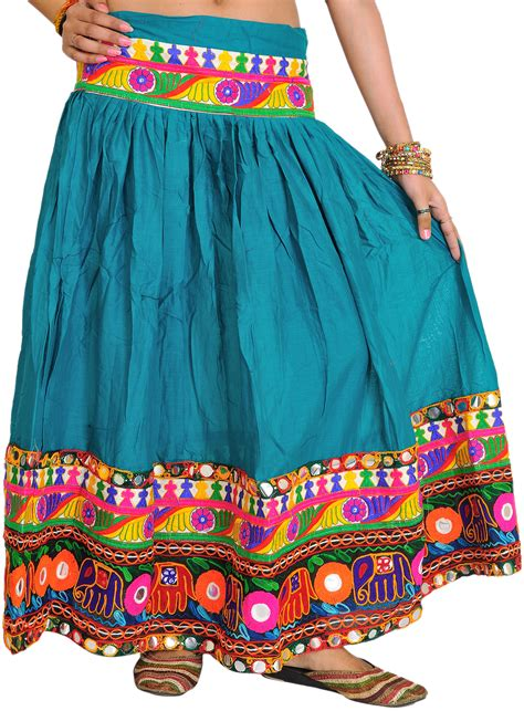Wedding Border Sts by Fanfare Green Ghagra Skirt From Kutch With Embroidered