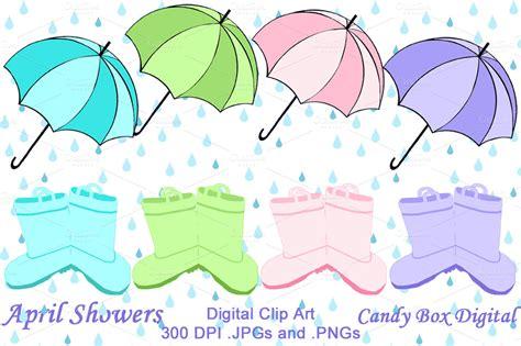 april showers clip illustrations on creative market