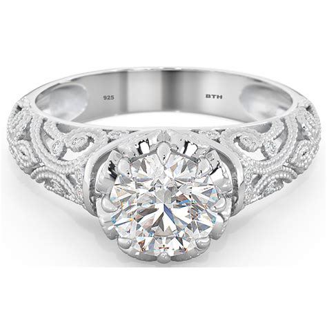 sterling silver cubic zirconia vintage style solitaire
