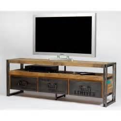meuble tv industriel fer et bois factory samudra