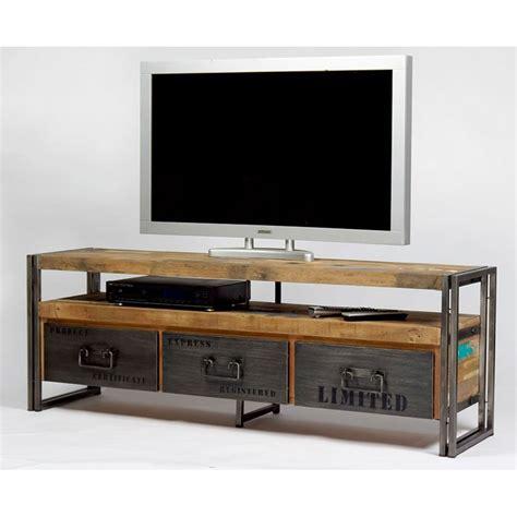 meubles tv meuble tv industriel fer et bois factory samudra livraison gratuite