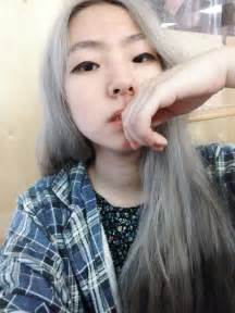 japanesse with grey hair virgin asian black hair to pastel steel pastel grey hair